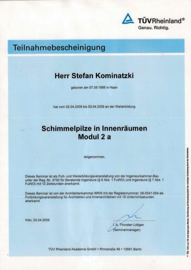 Zertifikate / Schulungen